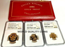 1986 United Kingdom 3 Gold Coins Set Commonwealth Games Ngc Pf70/69