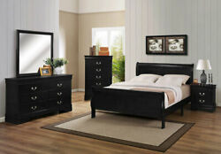 Transitional Style Louis Phillipe Twin Size 4pc Panel Bed Set Furniture Wooden