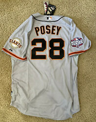2012 Authentic Majestic World Series Sf Giants Buster Posey Jersey Mlb Size 52