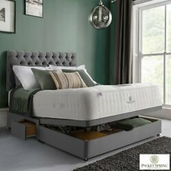 Pocket Spring Bed Company Mulberry Mattress And Grey Ottoman Divan In 3 Sizes