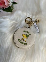 Coach X Peanuts Bag Charm Keychain With Woodstock Happy Camper Coin Purse New