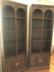 Pair Ethan Allen Cabinets With Bookcase Tops Arch Old Tavern Dark Pine