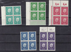 Germany 1959 Sc 793/7 Set ,block Of Four Mnh,one Of 10 Tiny Thinness  S2377