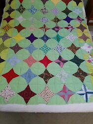 Vintage Unfinished Quilt Top Topper Hand Stitched 67 X 52 ☆farmhouse Country☆