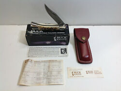 1989 Buck 110 Knife With Stag Handle And Damascus Blade And Sheath Mint In Box