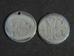 2 Antique 1800andrsquos Liberty Seated Dime 10c Love Tokens Andndash Initials