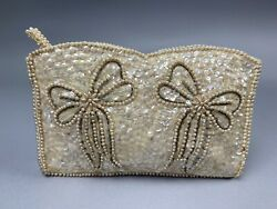 Womens Vintage Beaded Sequin Evening Bag Clutch Wedding Party Purse Ribbon Ivory $19.99