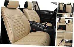 Car Seat Covers - Faux Leather Non-slip Vehicle Cushion Cover, Full Set Beige