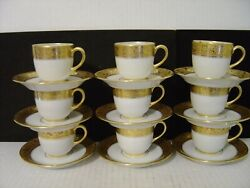Vtg. Set Of 9 Vignaud Limoges Wanamakers White And Gold Demitasse Cups And Saucers