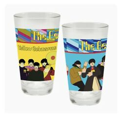 The Beatles Yellow Submarine 16 Oz. Laser Decal Drinking Glass 2-pack Nib