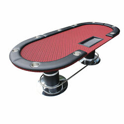 96 Armour Poker Table Detachable Armrest Jumbo Cup Holders Red Speed Cloth