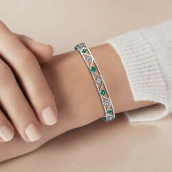 14k Solid Yellow,rose,white Gold Natural Diamond Emerald Bangle Gift For Her