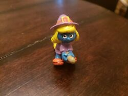 Vintage Smurfs Figures Lot 1970s 1980s Smurfette As A Witch Riding A Broom