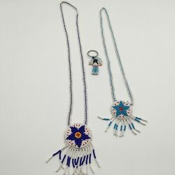 Native American Beaded Necklaces 2 And Keychain Blue And White