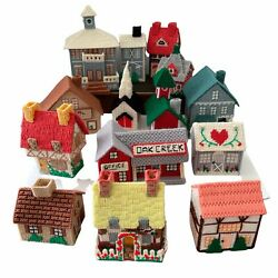 Christmas Village 14 Buildings 3d Needlepoint Completed Plastic Canvas Houses