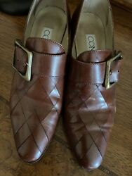 Connie Womens Vintage Colonial Brown Leather Buckle Shoes Loafers Sz 6b