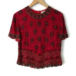Papell Boutique Evening Women#x27;s Short Sleeve Red Top Black Floral Beading Medium $19.99