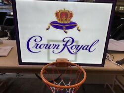 Crown Royal Advertising Sign Nba Issued Basketball Hoop Man Cave Decor Led Light