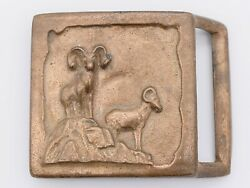 Sheep Ram Solid Brass Colonial Leather Co Rare 1970s Vintage Belt Buckle