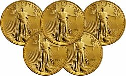 Lot Of 5 1997 5 1/10 Oz American Gold Eagles Brilliant Uncirculated Coins