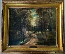 Signed Antique Oil Painting Wooded Landscape Figure Walking On Canvas