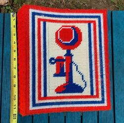 Patriotic Red White Blue Phone Book Cover Yarn Hand Cross Stitch Plastic Vintage
