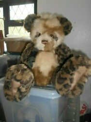 Chit Chat Charlie Bear Stunning Bear Wears Tags Animal Print Plush To Arms/legs