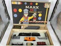 Ho Scale 187 Vintage Marx Train Set W/locomotive And 3 Cars Track And Power Pack