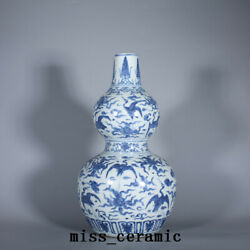 14.9 Chinese Old Porcelain Ming Dynasty Wanli Blue White Crane Cloud Gourd Vase