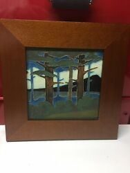 """Framed Arts And Crafts 8"""" X 8"""" Motawi Tile - Bungalow Style"""
