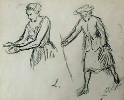Maximilien Luce 1853-1941 Figures Sketches Original Charcoal Signed Drawing.