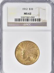 1912 10 Gold Indian Head Eagle Ngc Ms 62