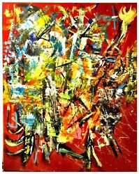 ORIGINAL ABSTRACT MODERN ART CONTEMPORARY ACRYLIC ON CANVAS Signed BY REED