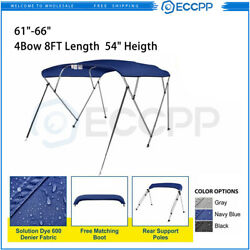 Eccpp 4 Bow Bimini Top Boat Cover 54h 61-66w 8ft Blue With Rear Support Pole