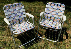 Pair Of 2 Vintage Folding Aluminum Lawn Chairs Red White And Blue Webbing 1960s