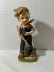 Vintage Hummel Style 8 Boy Chopping Wood With Axe Figurine