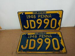Vintage 1948 Pennsylvania License Plates Jd990 Matching Front And Back