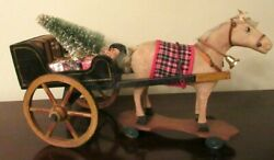 Antique Toy Horse On Platform And Wheels + Antique Wood Cart -christmas Decoration