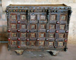 Antique Indian Damchiya Rustic Bar Cart Storage Box Floral Carving Chest