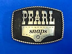 Vintage Rare Pearl Snaps Company Silver Brass Belt Buckle By Anacortes 2013