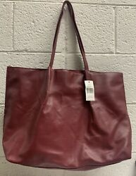 SAKS FIFTH AVENUE Burgundy Shopping Beach Bag Tote L12xW18 New With Tag $15.99