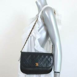 Vintage 1980s Double Flap Shoulder Bag Black Quilted Leather Small Clutch