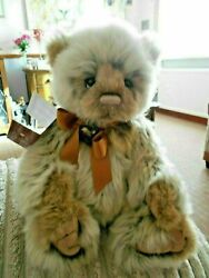 Charlie Bear Briscoe Bear Tags On Padded Paws Wears A Bow And Bell