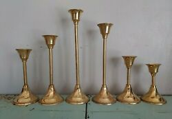 Lot Of 6 Vintage Brass Candlestick Holders Tapered Graduated Home Wedding Decor