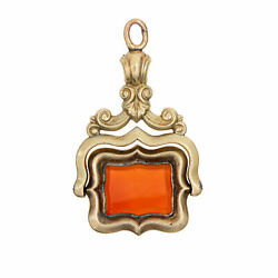 Antique Victorian Spinning Fob 14k Yellow Gold Carnelian Charm Pendant Jewelry