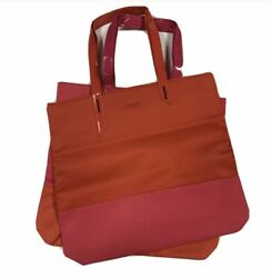 2 x LANCOME Tote Bag Pink And Red Red And Pink Beach Large Vacation Tote $13.99