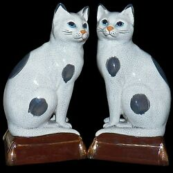 Pair Takahashi Japan San Francisco Staffordshire Cat Bookends Figurines Statue
