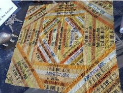 Antique Cigar Band Ribbon Quilt - Vintage Handmade - 19x19 - Tobacco Collectible