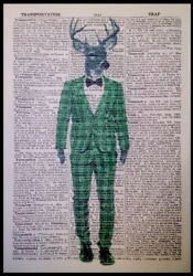 Stag Print In Tartan Suit Vintage Dictionary Page Wall Art Picture Animal Green