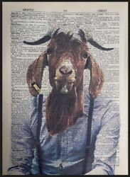 Goat Print Vintage Dictionary Page Wall Art Picture Barbers Hipster Beard Animal